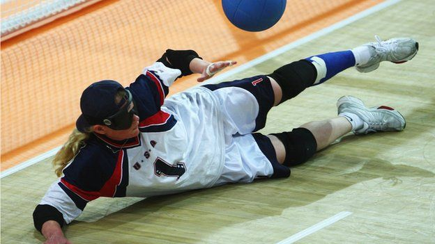 Jen Armbruster.  USA Goalball player, she has competed in her sixth Paralympic Games.  As seen at http://grrrlcamp.org/athletes/  #girls #empowerment #gender #sports #rolemodel #beauty #Paralympics