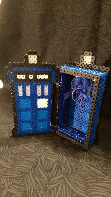 3D TARDIS Doctor Who Engagement Ring/ Storage Box perler beads by NerdyArtisan