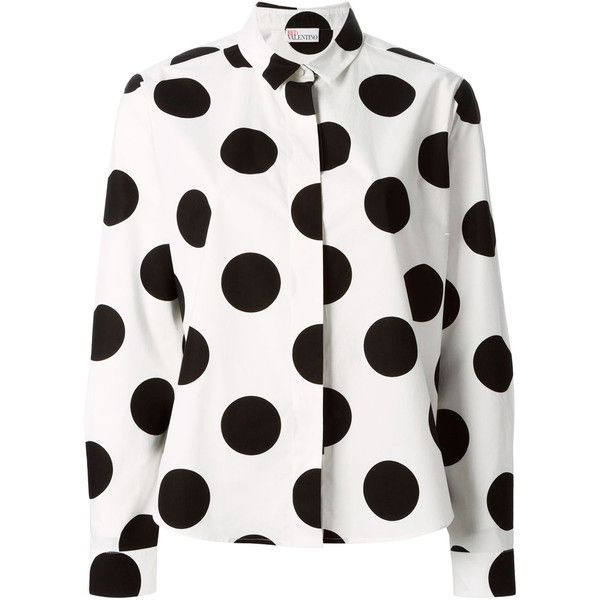 Red Valentino White Polka Dot Cotton Shirt (670 RON) ❤ liked on Polyvore featuring tops, white cotton shirt, spread collar shirt, white long sleeve shirt, white shirt y pleated shirt