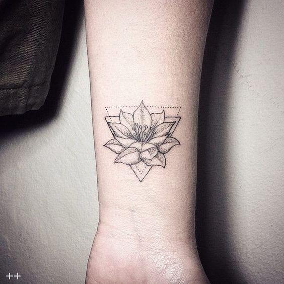 Amazing Geometric Wrist Lotus Tattoo, New Flower Tattoos July 2017