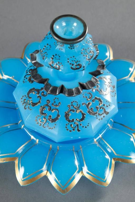 19th Century Blue Opaline Perfume Bottle with Enamel and Silver Decoration 2