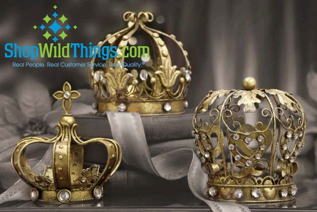 Our beautiful new tabletop Crowns are fit for the King and Queen of any ball. Perfect for building a tabletop theme! You will get one of each style! Jewel accents, round shape, filigree and embossed