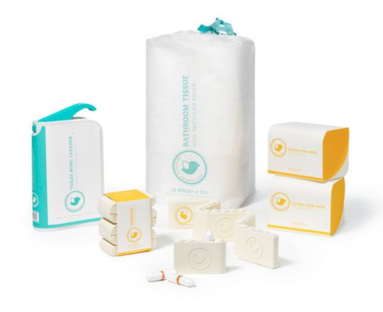 Tampons are packaged in individual molded paper pulp packs of 5, featuring a quick dispense method for convenience, while also offering the advantages of being easily portable and discreet. Pads are packaged in a sturdy paper pulp box. Toilet paper is packaged in a reusable biodegradable bag and the toilet cleaner features a hygienic hideaway nozzle.""