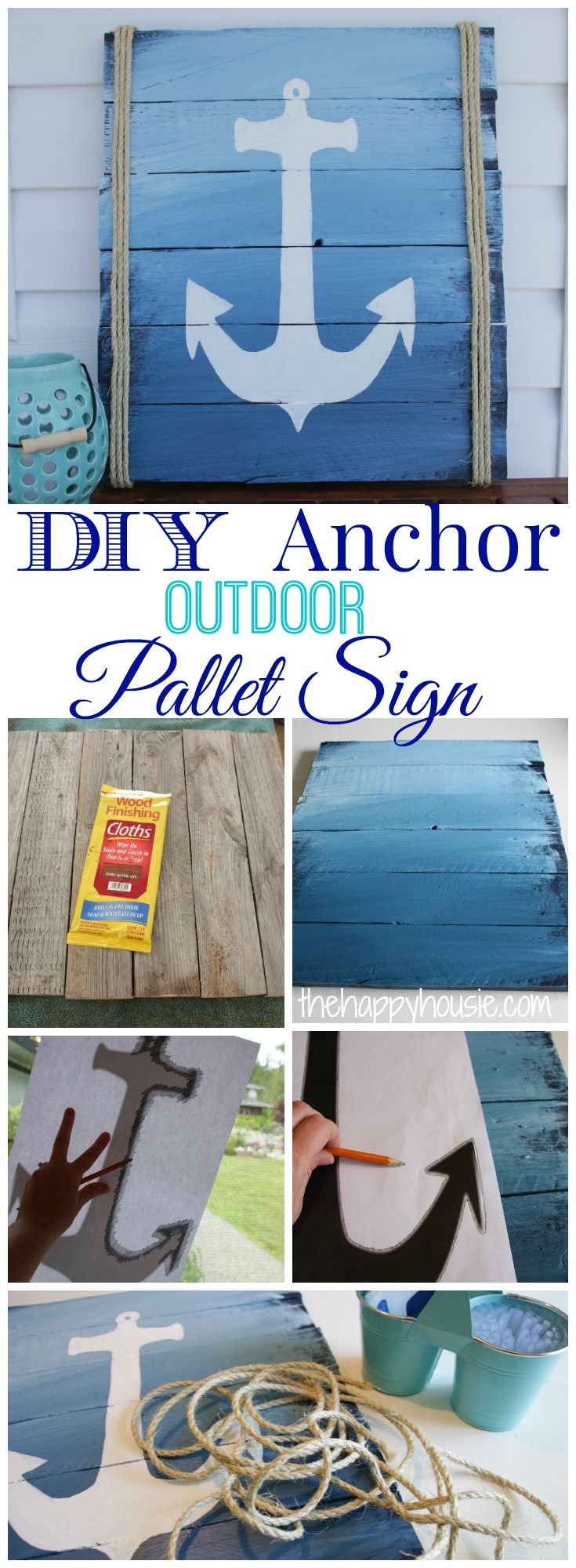 DIY Anchor Outdoor Pallet Sign at thehappyhousie.com