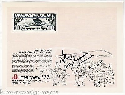 CHARLES LINDBERGH SPIRIT OF ST. LOUIS INTERPLEX PHILATELY STAMP SHOW CARD 1977