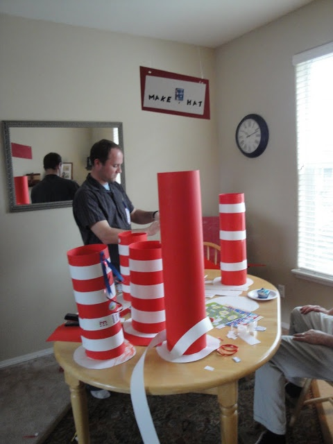 Cat in the Hat party!  Make-a-Hat!