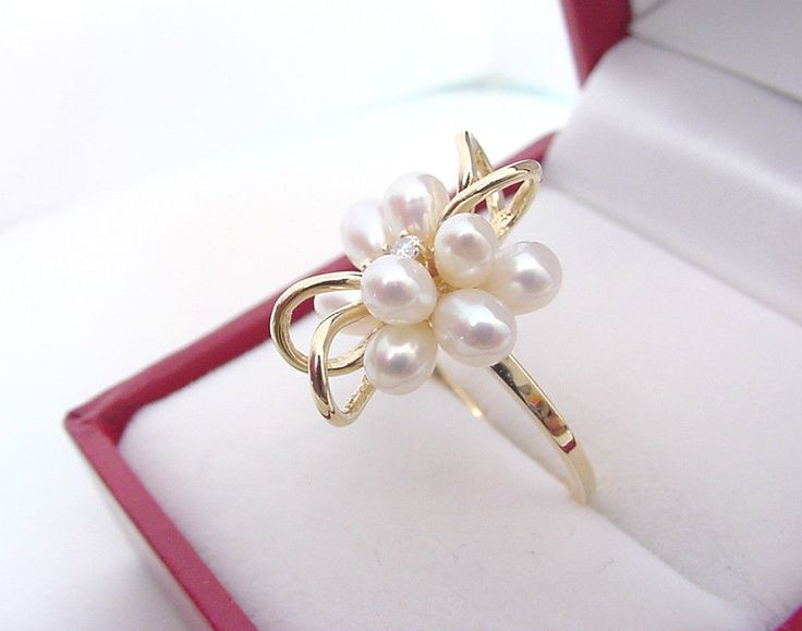 FINE FRESHWATER CULTURED PEARLS and  DIAMOND 14K GOLD RING  #ROR #Cocktail