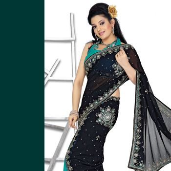 Black and Blue Faux Chiffon Lehenga Style Saree with Blouse