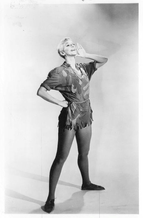 "Mary Martin as Peter Pan, 1954.  Growing up I had a hard time understanding Peter Pan was not (really) a girl.  Mary as Peter was essentially my first ""Disney Princess"". The girl could CROW. I was mesmerized.  And I'm still in love with ""the boy""."