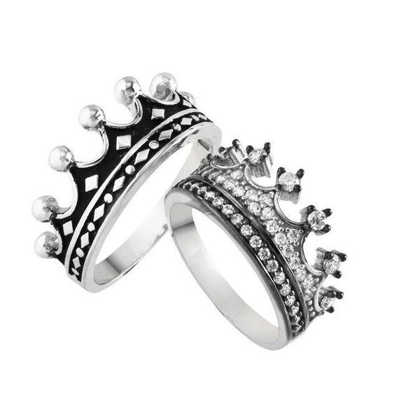 18add0f5a8 crown ring,silver crown ring,queen ring,king ring,crown ring set ...