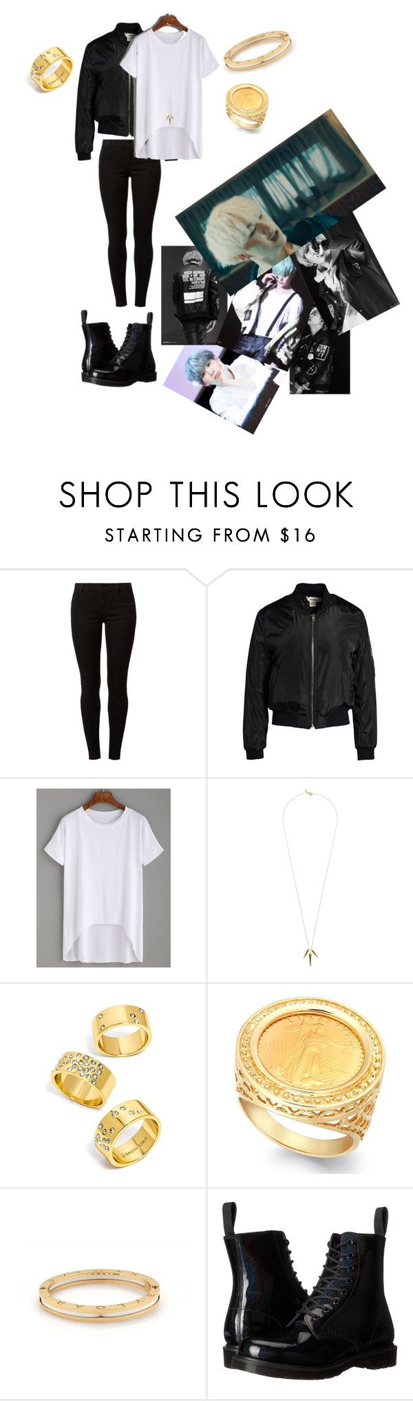 """AGUST D OUTFIT!! "" by msunicornanna ❤ liked on Polyvore featuring Dorothy Perkins, Sans Souci, Gorjana, BaubleBar, Bulgari and Dr. Martens"