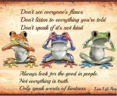 "Frogs...NO EVIL, SEE NO EVIL, HEAR NO EVIL...""DON'T SPEAK IF IT'S NOT KIND...Don't see everyone's flaws (faults)...Don't believe everything you're told...ALWAYS LOOK FOR THE GOOD IN PEOPLE...Not everything is truth...ONLY SPEAK WORDS OF KINDNESS:):):)"