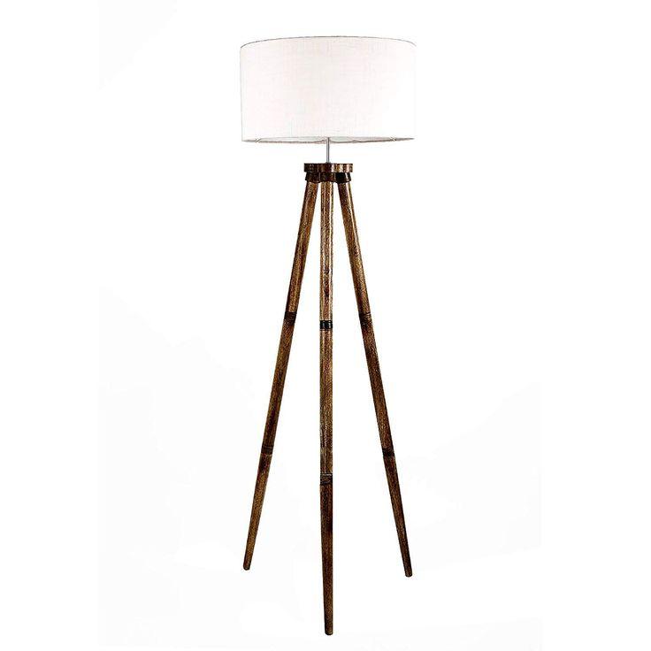 Lexton Off White Drum Shape Silk Textured Fabric Shade Wooden Decorative Standing Light In 2020 Wooden Tripod Floor Lamp Tripod Floor Lamps Floor Lamp