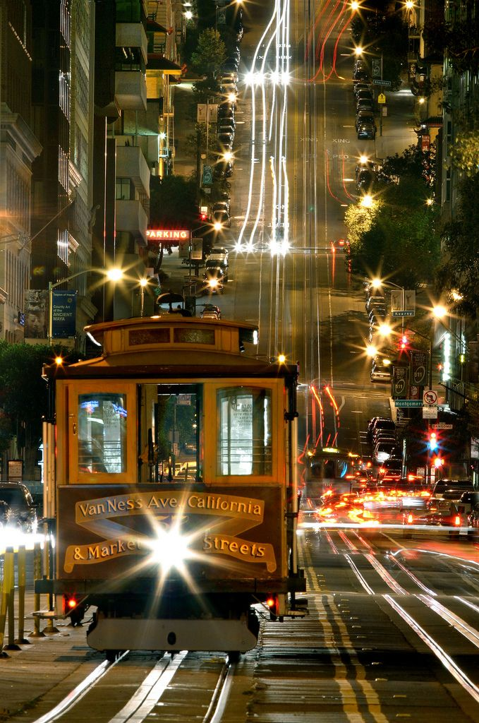 """""""California Street cable car"""" by ISTORAX on Flickr ~ This photograph of a California Street cable car at night was taken in the financial district, San Francisco, California, USA."""