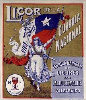 LICOR DE LA GUARDIA NACIONAL    Marca de fábrica para licores, registro N° 1061 del 12 de febrero 1900 a las 3 P.M. Titular Pablo Desmartis, Industrial de Valparaíso.