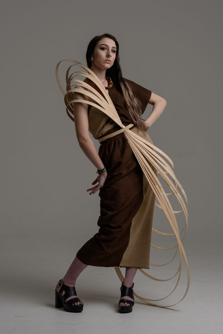 Abstract design Asymmetric dress with wood structure sculptural fashion design
