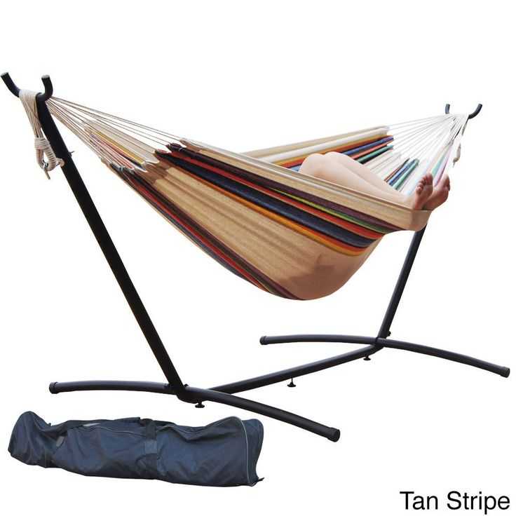 Prime Garden 9-foot Double Hammock and Steel Hammock Stand (Tan Stripe), Multi (Polyester) , Patio Furniture