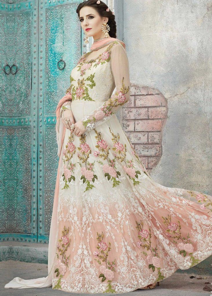a3359b1001 Peach & Off White Designer Heavy Embroidered Net Anarkali Suit-Saira's  Boutique