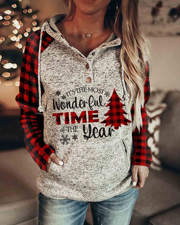 Gogoty Women Christmas Printing Pullover Plaid Raglan Sweatshirts Long Sleeves Round Neck Shirts Blouse Tops Shirts