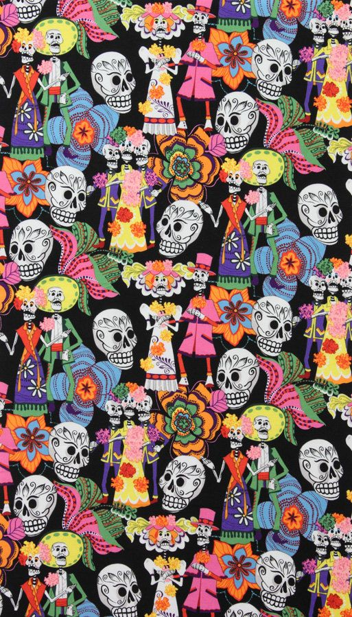 LAMINATED cotton fabric by the yard - Los Novios skeleton Day of the Dead (aka oilcloth coated vinyl fabric ) - De Leon Alexander Henry Pattern Wallpaper, Wallpaper Backgrounds, Iphone Wallpaper, Wallpaper Caveira, Cultures Du Monde, Laminated Cotton Fabric, Mexican Pattern, Alexander Henry Fabrics, Sugar Skull Art