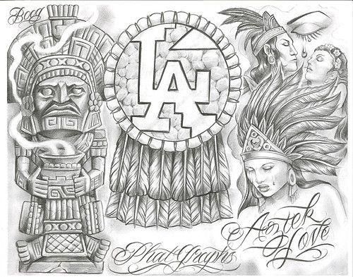 chicano tattoos aztec tattoo designs warrior boog drawings mexican lowrider flash azteca gangster pride brown arte female sleeve sketches sleeves