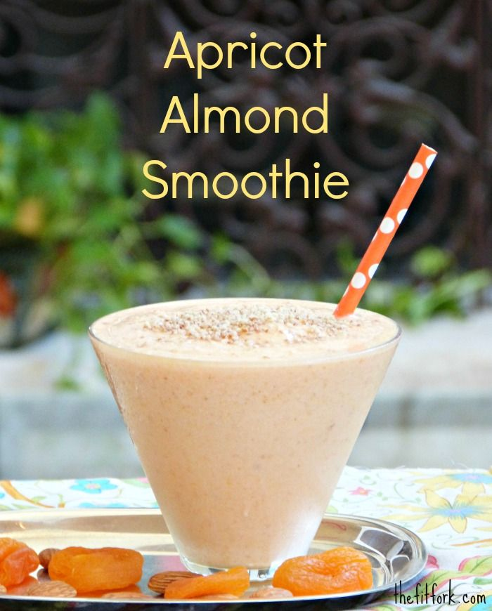 Apricot & Almond Smoothie -- a sweet and creamy start to your morning or for a post-workout snack. For the recipe, use fresh apricot slices that are flash frozen or soaked dried apricots.   thefitfork.com