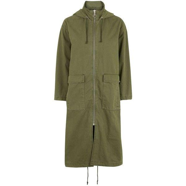 Topshop Petite Longline Parka (€75) ❤ liked on Polyvore featuring outerwear, coats, khaki, topshop parka, petite coats, green coat, khaki coat and petite parka coats