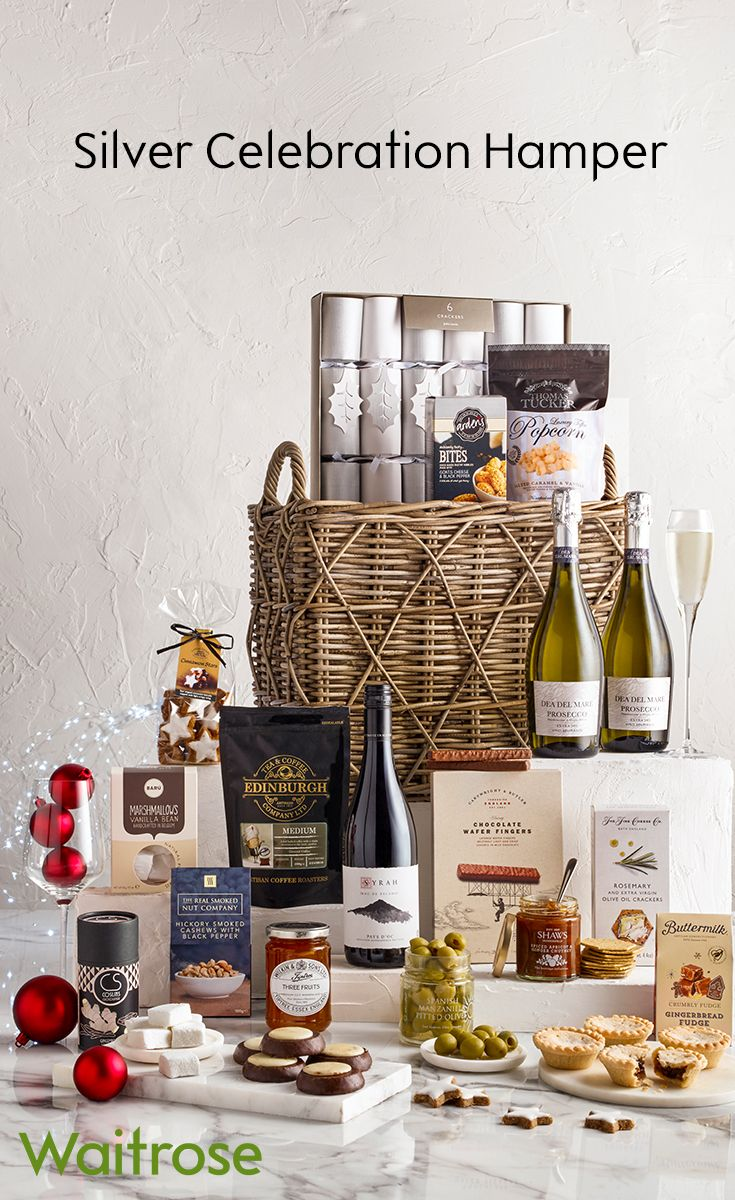 Our silver celebration hamper is perfect for a party! It includes two bottles of Prosecco, Christmas crackers and an array of tasty treats – there really is something for everyone. To see more hampers, see the Waitrose Gifts website.