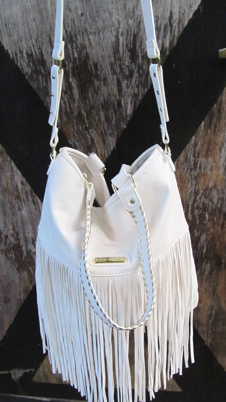 STEVE MADDEN Cream Ivory Off White Hippie Fringe Bag Tote Purse Handbag Satchel | eBay
