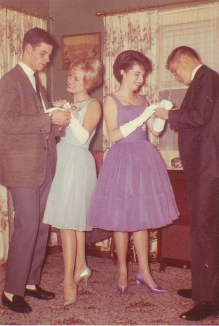Prom. 1950s late era to early 60s purple blue matching shoes snapshot found photo street style