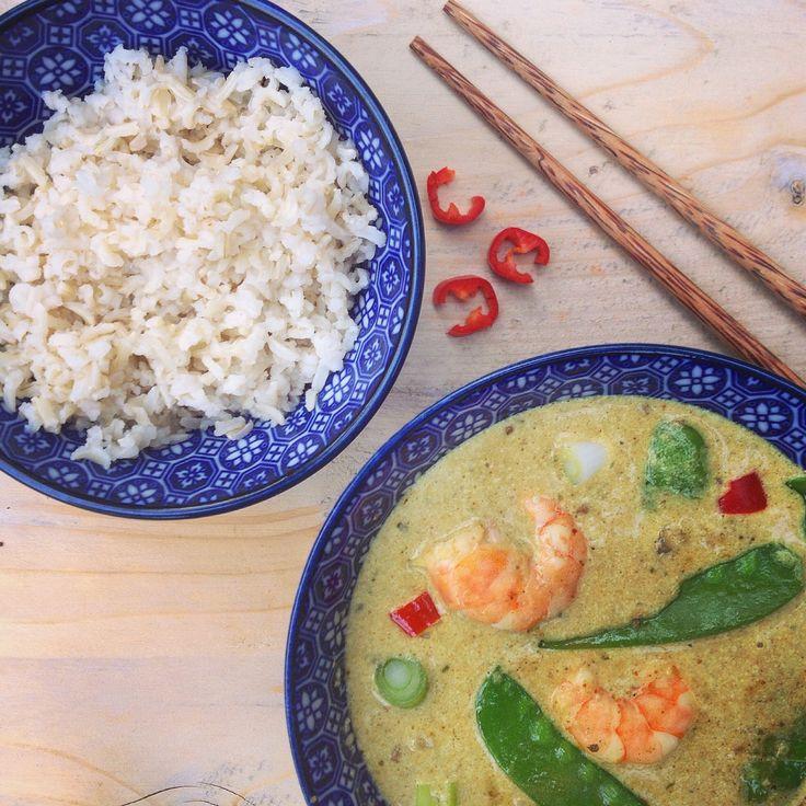 Thaise groene curry met garnalen. Een makkelijk snel recept voor een heerlijke oosterse maaltijd met kruiden van Jonnie Boer, original spices. Detox proof!