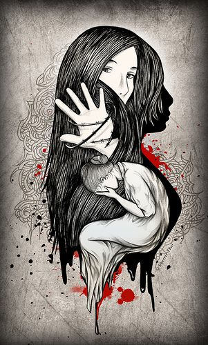 Domestic violence has several facets. In this picture there appears to be the shadow of a woman who is unseen by society, a woman's face who wants to believe he still loves her, and the head of a woman in her hands feeling hopeless and lost.