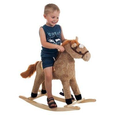 Happy Trails Plush Rocking Horse - Tan