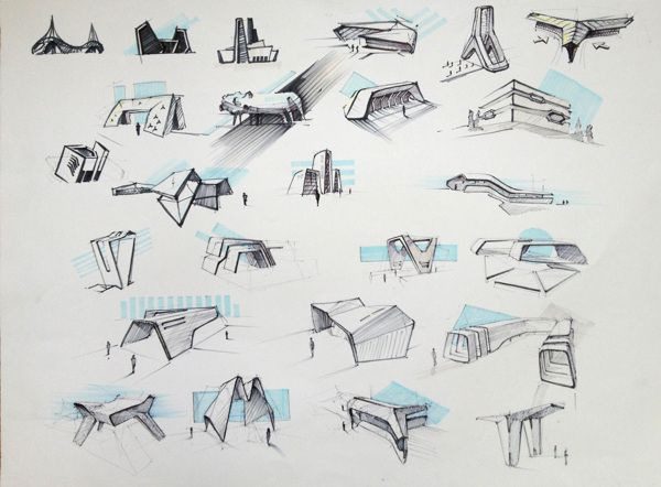 Sketches architectural by Mihail Ivantsov, via Behance