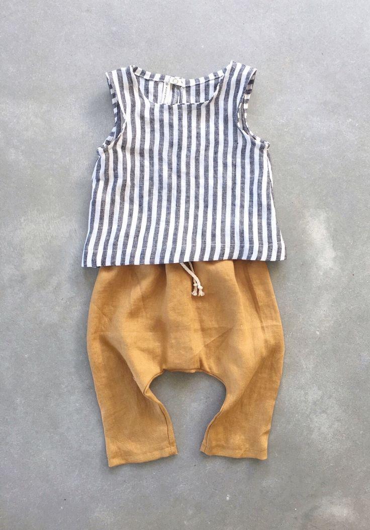 Handgefertigte Leinen Baby Tank Top & Hosen