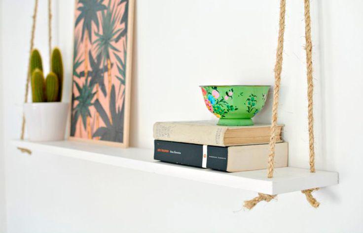 Prateleira de corda, uma ideia simples e cheia de bossa! O que é tendência no design e na decoração?  // palavras-chave: faça você mesma, DIY, passo a passo, inspiração, ideia, tutorial, decoração, design de interiores, tendências, prateleira de corda, casa, prateleira, barato, em conta, madeira