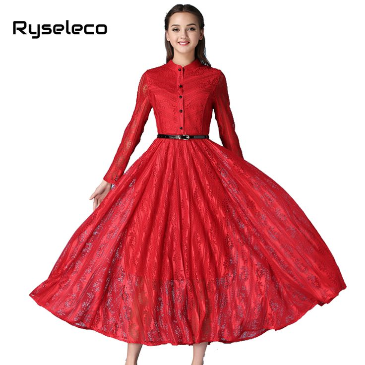 Brand New Women 2017 Spring Vintage Retro Red Embroidery Lace Full Sleeve Long Dresses Runway Swing Shift Maxi Party Vestidos XL