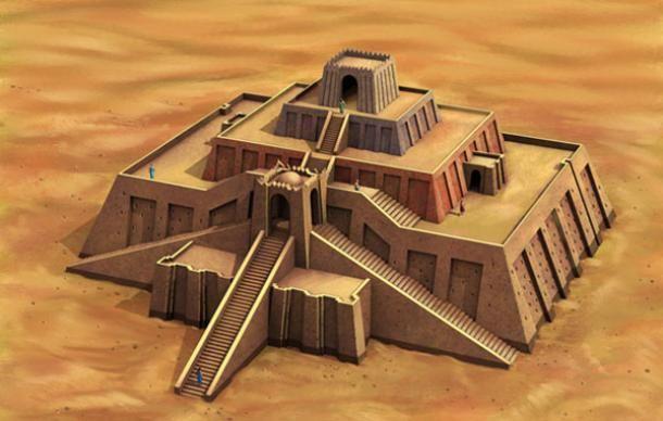 An illustration of the original appearance of the Ziggurat of Ur, Iraq
