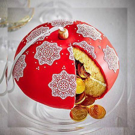 Торт Новогодний Ёлочный шар  Как испечь торт в форме шара из бисквита. Рецепт торта в форме шара.