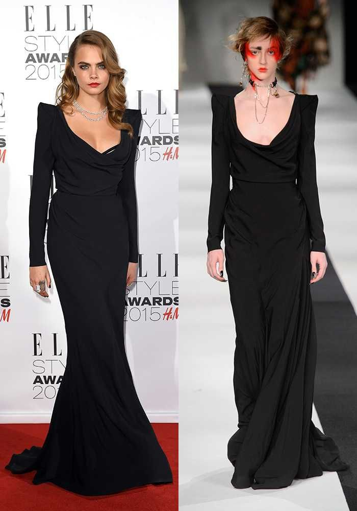 Rare Super-Glam moment for Cara Deleveigne in Vivienne Westwood! Gorgeous. #ellestyleawards #viviennewestwood