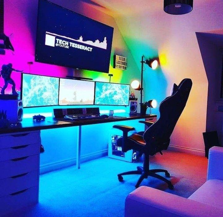 25 Epic Gaming Room Setups Tips To Improve Yours Tasteful Tavern Room Setup Video Game Room Design Video Game Rooms