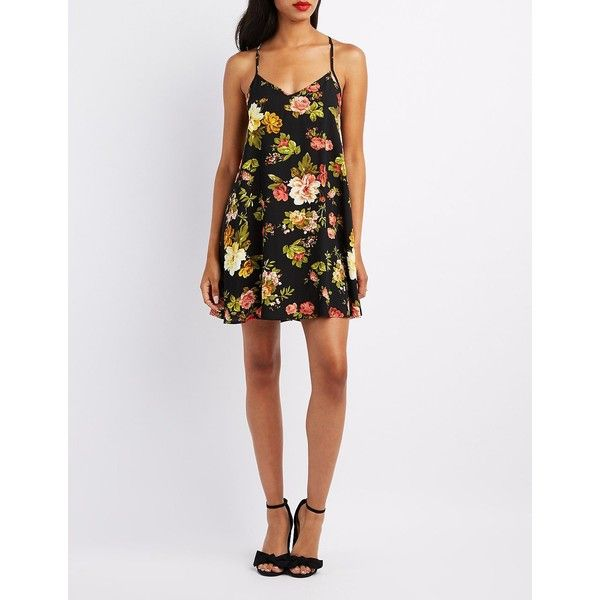 Charlotte Russe Floral Racerback Shift Dress ($17) ❤ liked on Polyvore featuring dresses, multi, racer back dress, v neck dress, white floral print dress, shift dresses and white v neck dress
