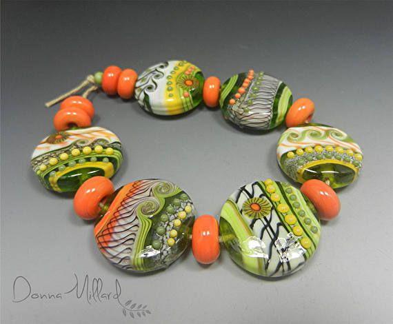 Artisan HANDMADE LAMPWORK beads artisan Glass Beads Donna