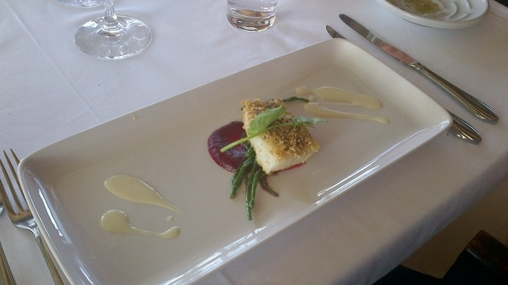 Pickerel with a Crackling Crust, Sea Asparagus, surrounded by a Beet Puree and Horseradish Cream…this was paired with a 2009 Chardonnay Reserve.