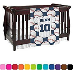 Baseball Jersey White and Blue Personalized Baby Blanket (Double Sided)