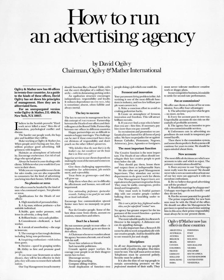 "861 Likes, 11 Comments - Ogilvy & Mather (@ogilvymather) on Instagram: ""#OgilvyArchive #TBT How to run an advertising agency To view the full print ad, follow the link…"""