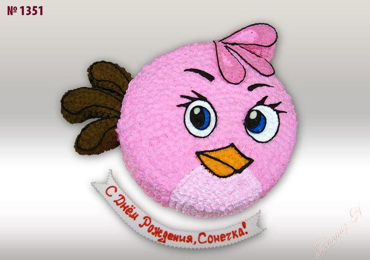 """Торт Розовая птичка для ребенка на заказ, цена 1400 руб. Из сливок или бисквит на 1-2 годика - Кондитерская """"Каприз-Н"""""""