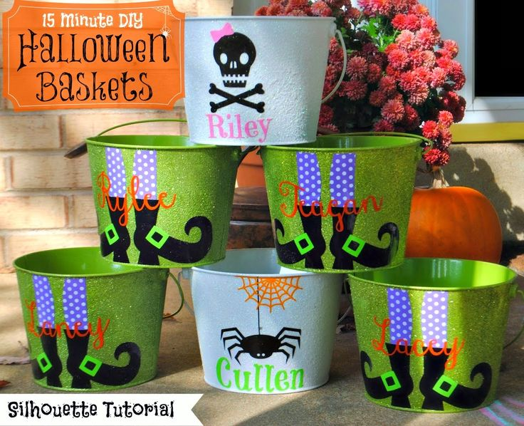 15 Minute Customized Halloween Buckets (On The Cheap) and using Mod Podge to seal the vinyl to hard to stick surfaces.