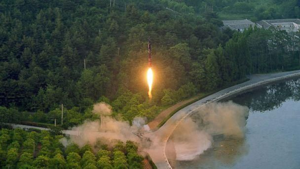 PHOTO: This undated photo released by North Korea's official Korean Central News Agency on May 30, 2017 shows a test-fire of a ballistic missile at an undisclosed location in North Korea. (KCNA/AFP/Getty Images)