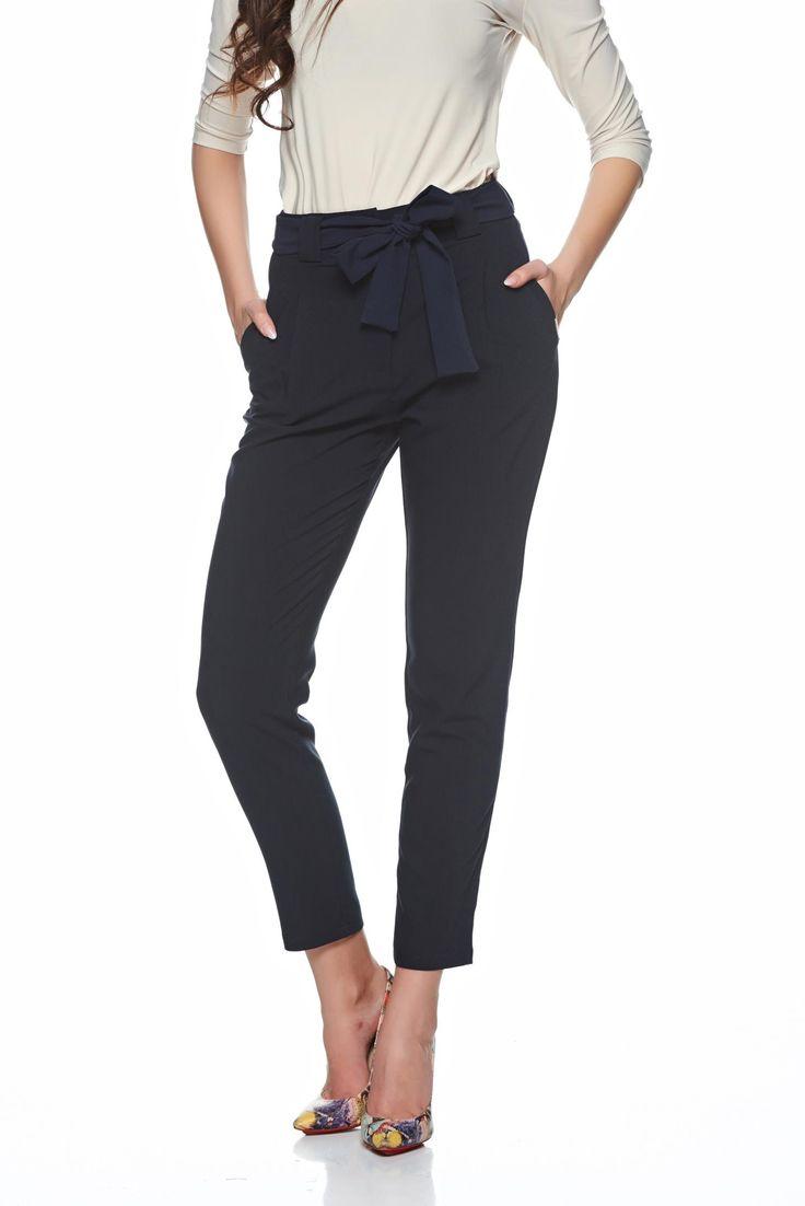 Comanda online, Pantaloni cu talie inalta PrettyGirl albastru-inchis accesorizati cu cordon. Articole masurate, calitate garantata!